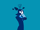 Businesswoman head have smoke. Concept business vector illustration.