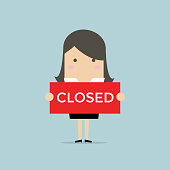 Businesswoman hold a sign Closed in her hands. Vector