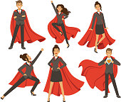 Businesswoman in action poses. Female superhero flying. Vector illustrations in cartoon style. Business woman super hero and person strong leader lady