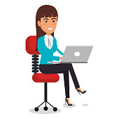 businesswoman in chair workplace character vector illustration design