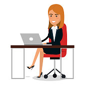 businesswoman in workplace character vector illustration design