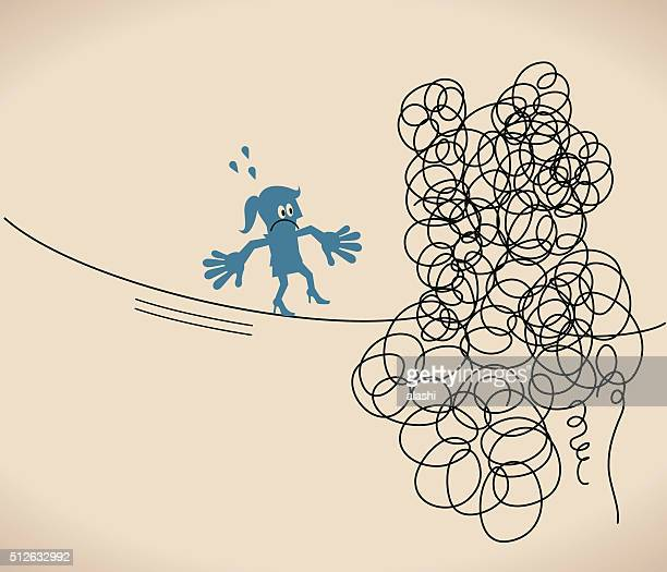 Businesswoman is walking on a tangled messy line (string, rope)
