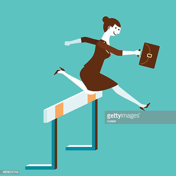 Businesswoman Jumps Over Hurdle | New Business Concept
