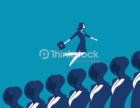 Businesswoman running over other business people. Concept business illustration. Vector flat