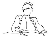 Businesswoman sitting at her workplace in office. Business concept illustration. Continuous line drawing. Isolated on the white background. Vector illustration monochrome, drawing by lines