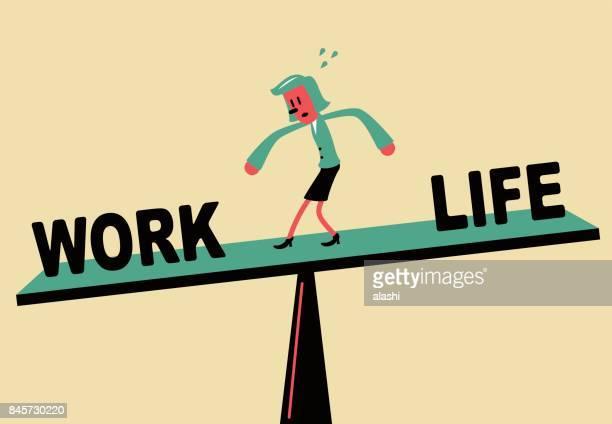 Businesswoman standing on seesaw, Work Life Balance