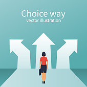 Businesswoman stands before choosing. Way forward concept. Choice way. Vector flat style design. Achieve goal. Crossroads arrows. Decide direction.