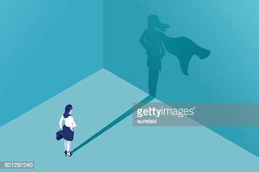 Businesswoman superhero shadow : Vector Art