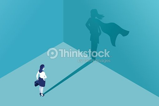 Businesswoman superhero shadow : stock vector