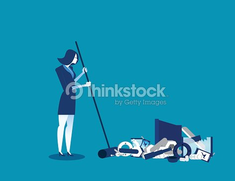 Businesswoman sweeping away old technology. Concept technology business illustration. Vector innovation of technology