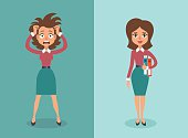 Vector illustration of cute cartoon brunette businesswoman in stress and calm states.