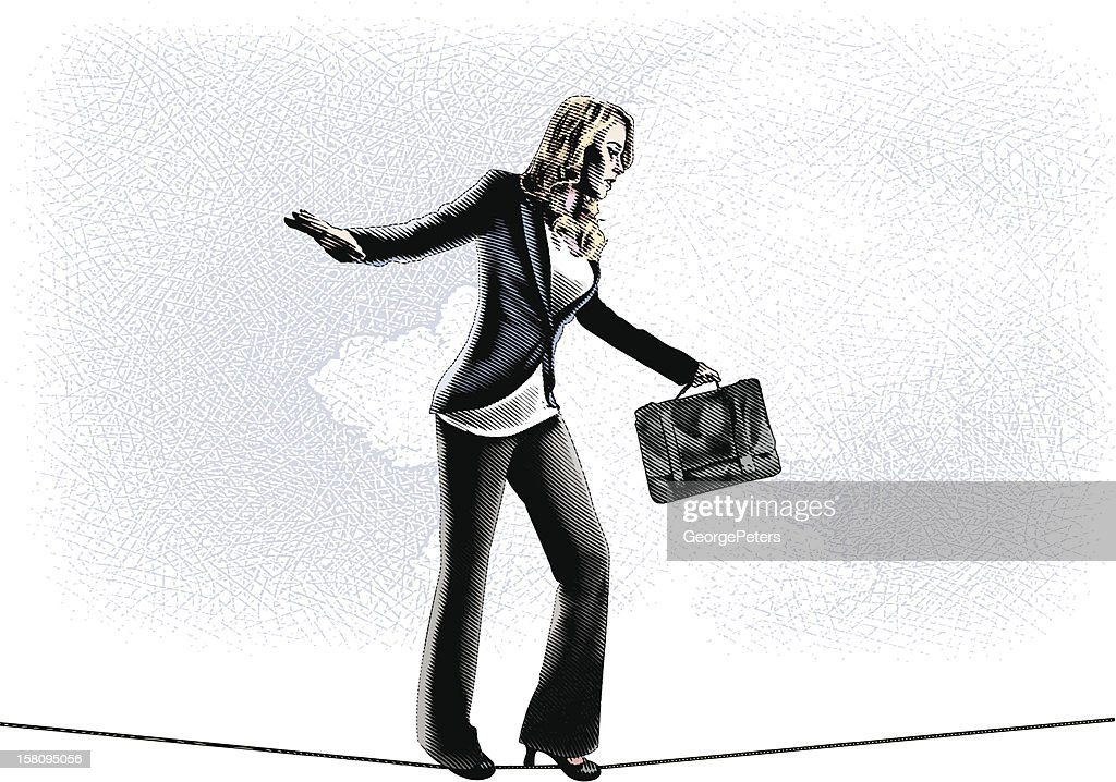 Businesswoman Walking Tightrope : Vector Art