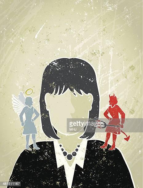 Geschäftsfrau mit Engel und Teufel auf Ihren Schultern