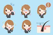 cute cartoon business woman with dandruff problem