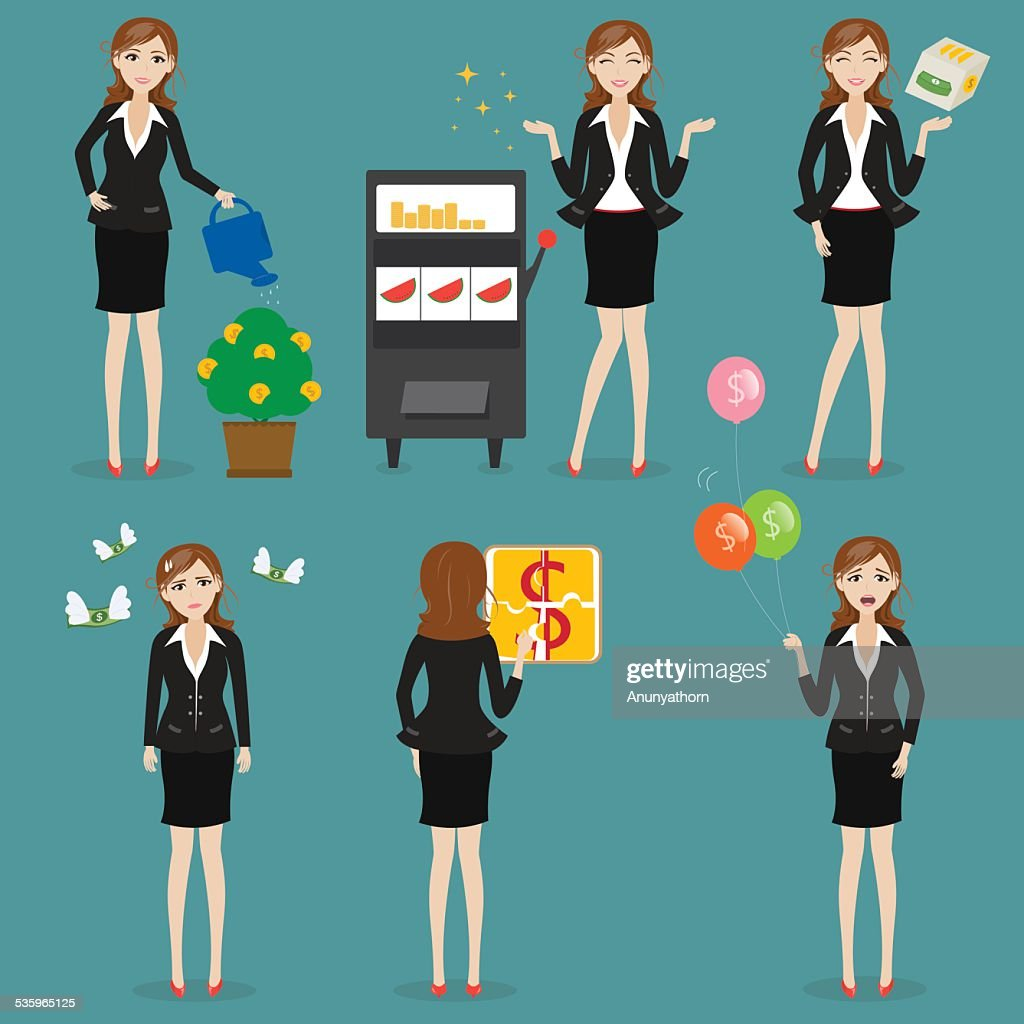 businesswoman with game : Vector Art