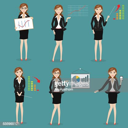 businesswoman with graph : Vector Art