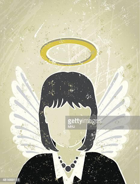 Geschäftsfrau mit Halo und Wings, Guardian Angel
