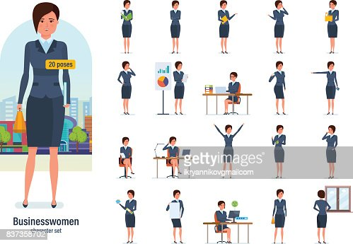 Businesswoman worker in formal wear. Different poses, emotions, gestures : Vector Art