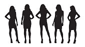 Businesswomen isolated vector silhouettes. Group of women at work