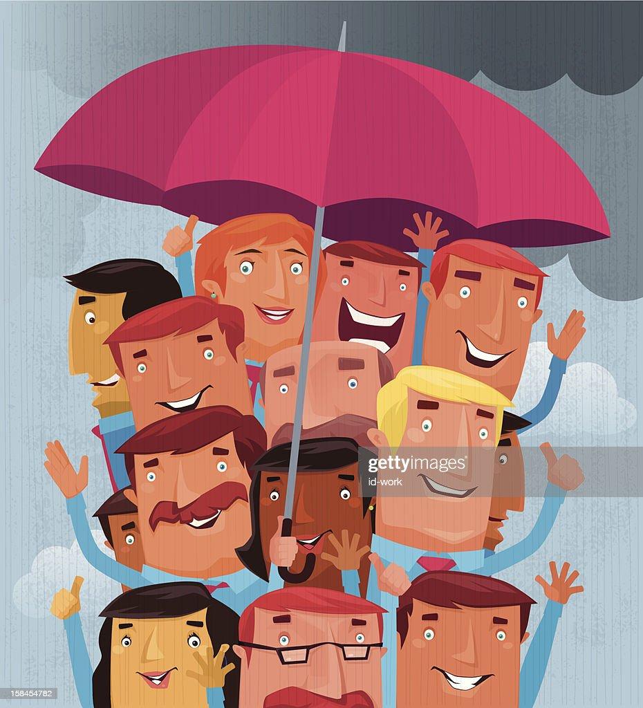 bussinessmen cheering with umbrella : Vector Art