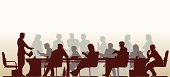 Editable vector foreground silhouette of people in a meeting with all figures and other elements as separate objects
