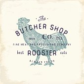 Butcher Shop vintage emblem rooster meat products, butchery Logo template retro style. Vintage Design for Logotype, Label, Badge and brand design. vector illustration.