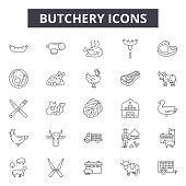 Butchery line icons, signs set, vector. Butchery outline concept illustration: food,meat,beef,butchery,butcher,pork