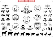 Lots of butchery design elements for your work.