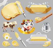 Butter. Milk farm. 3d realistic vector icon set