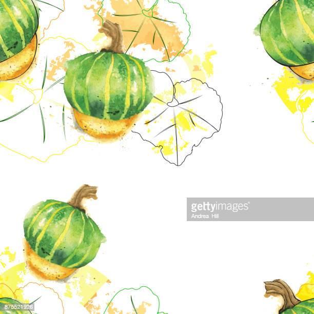 Courge Buttercup vecteur aquarelle Seamless Pattern