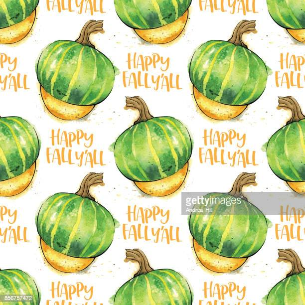 Courge Buttercup aquarelle Vector Seamless Pattern avec «heureux tomber y ' All» texte calligraphique