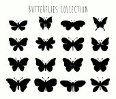 Butterflies collection with different black shapes isolated on white, vector design
