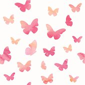 Seamless pattern with watercolor butterflies. Vector illustration