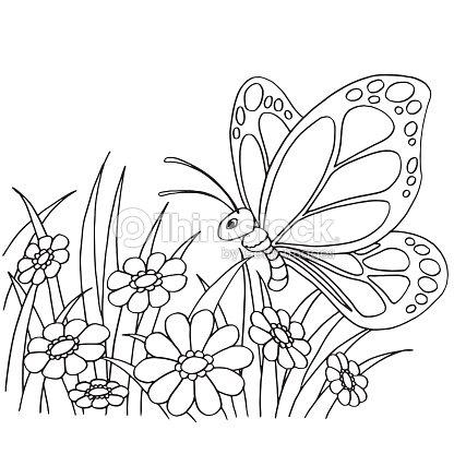 Dibujos Animados De Mariposas Y Flores Para Colorear Vector Página ...