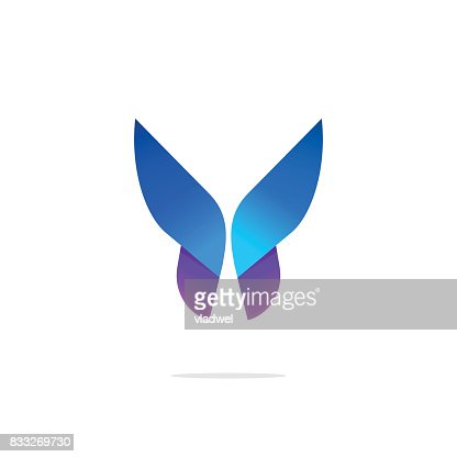 Butterfly colorful icon template with gradient on wings : stock vector