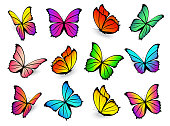 Butterflies isolated on white background. Vector flying colourful butterfly set with bright spring colours. Gradient beautiful icon collection.