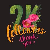 Vector Thank you 2K followers card. Thanks design template for network friends and followers. Image for Social Networks. Web user celebrates subscribers and followers. Two thousand followers.