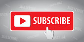 SUBSCRIBE - button color with hand cursor and shadow. Vector illustration. EPS 10