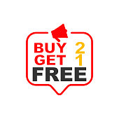 Buy 2 get 1 free sign. Speech bubble megaphone. icon