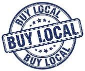 buy local blue grunge round vintage rubber stamp