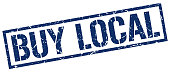 buy local blue grunge square vintage rubber stamp