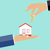 Buying property, money in exchange for the key to the house. Flat design, vector illustration, vector.