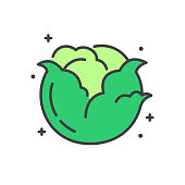 Cabbage line icon on white background for graphic and web design, Modern simple vector sign. Internet concept. Trendy symbol for website design web button or mobile app
