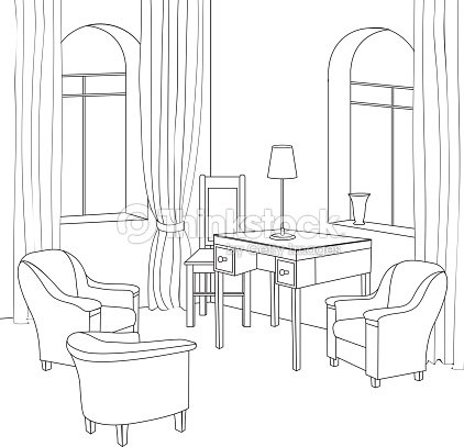 Cabinet interior outline sketch vector art thinkstock for Living room outline