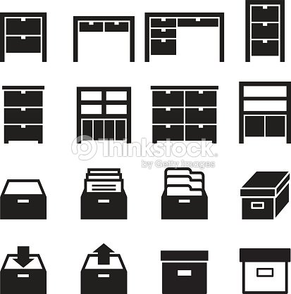 Cabinet Storage Icon Set Stock Vector Thinkstock