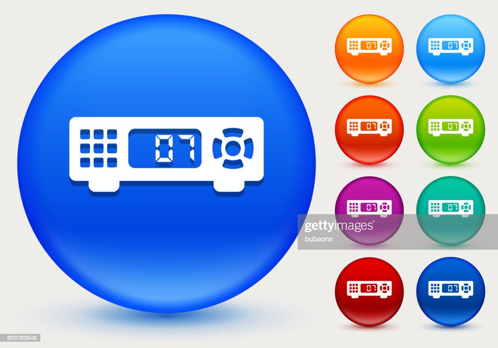 Cable Box Icon on Shiny Color Circle Buttons : Arte vettoriale