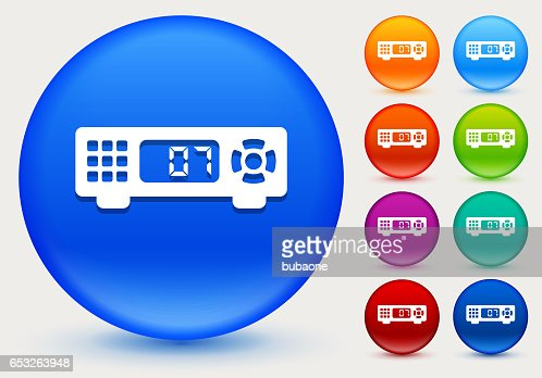 Cable Box Icon on Shiny Color Circle Buttons : Vector Art