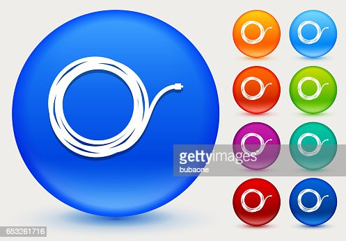 Cable Icon on Shiny Color Circle Buttons : Vector Art