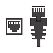 RJ45 cable on the white background. Vector illustration