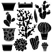 Cacti hand drawn black silhouettes set, succulents, houseplants, flowerpots, boxes, vases isolated on white background - vector artwork